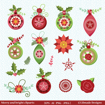 Holiday decor clipart, Christmas ornament clipart, Christmas clipart.