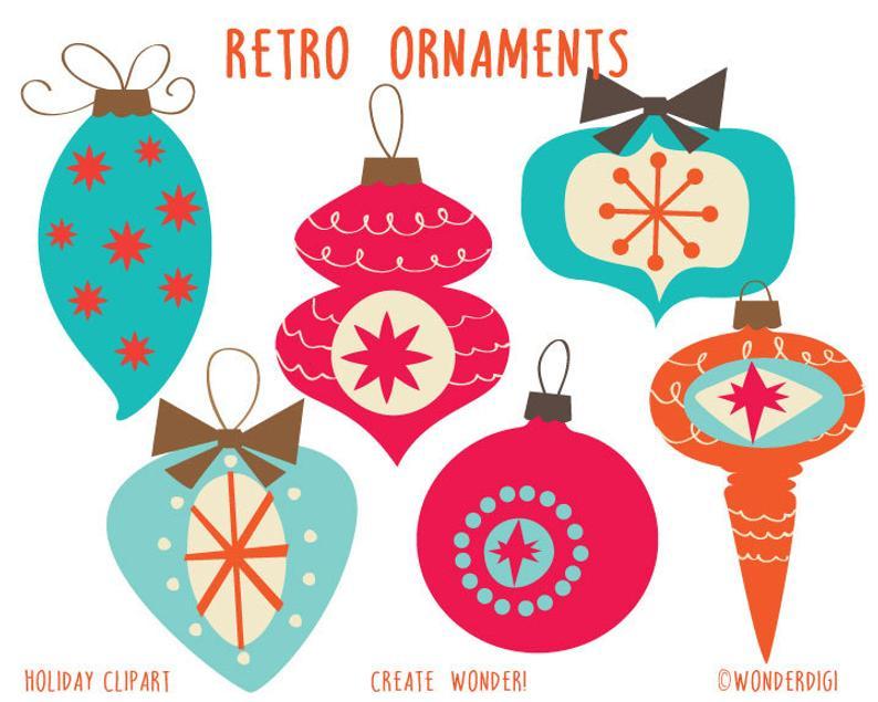 Christmas Clip Art, Retro Ornaments Clipart, Holiday clipart.