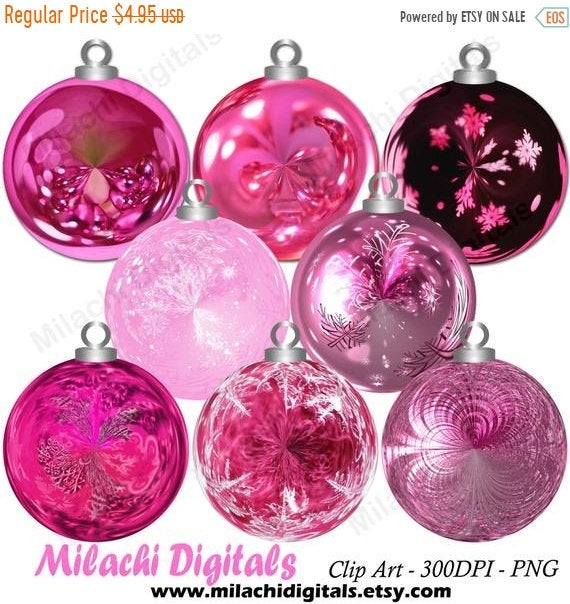 70% OFF SALE Christmas pink ornaments clipart,holiday ornaments clipart,  ornament clip art, digital elements, commercial use.