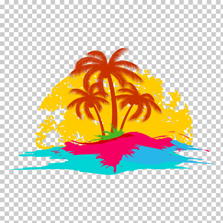 Logo Holiday , Tropical elements, red palm tree on island.