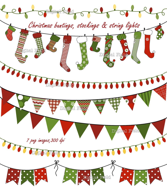 Christmas Buntings Stockings & Lights clip art by digitalfield.