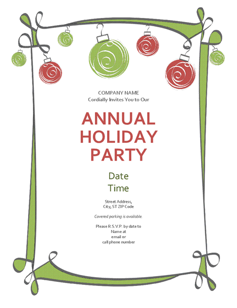 Holiday party invitation with ornaments and swirling border.