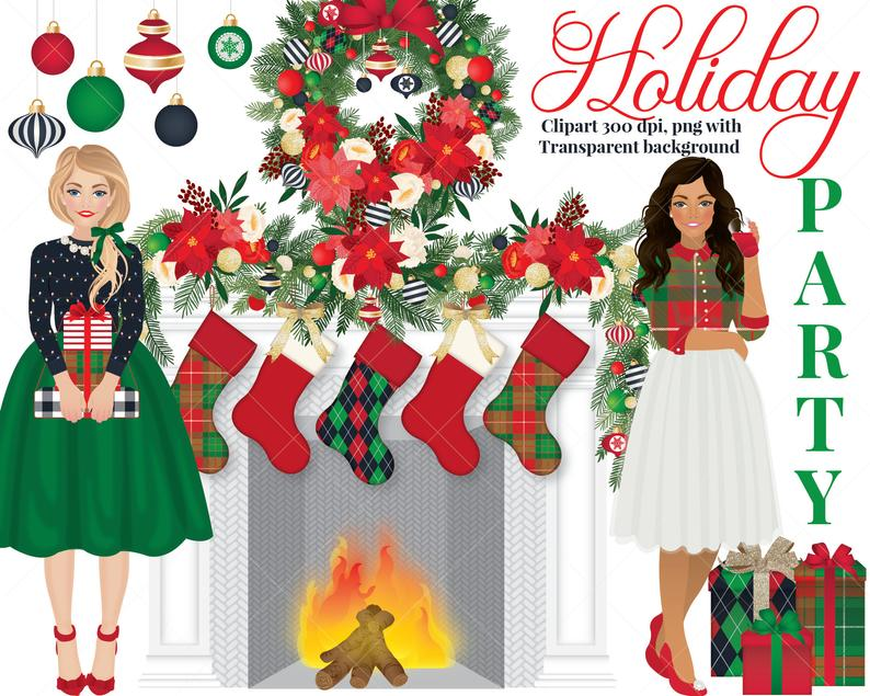 Holiday Party clipart set, Christmas, ornament, stocking, girls, fashion,  wreath.