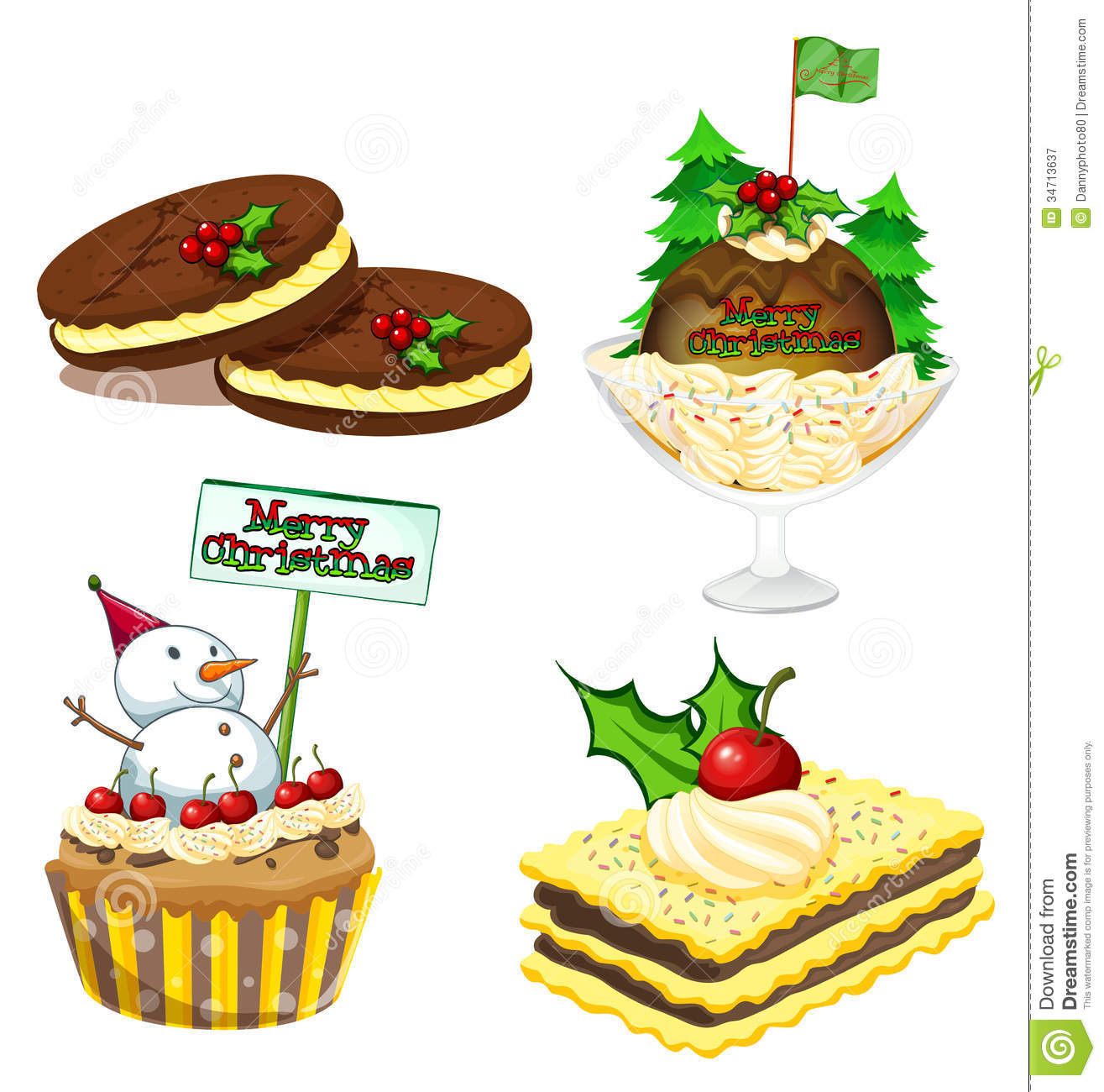 Christmas desserts clipart.