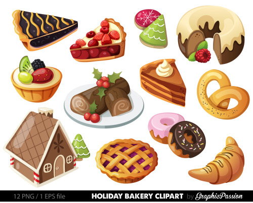 Holiday dessert clipart.