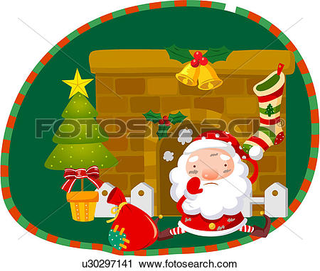 Clip Art of , bell, bow, christmas, holiday, holly, wreath, xmas.