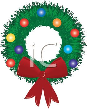 Picture of a Holiday Wreath With Baubles and a Red Bow In a Vector.
