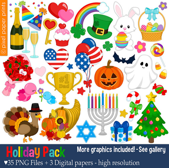 Holiday Pack Clip art set Holiday clipart by pixelpaperprints.