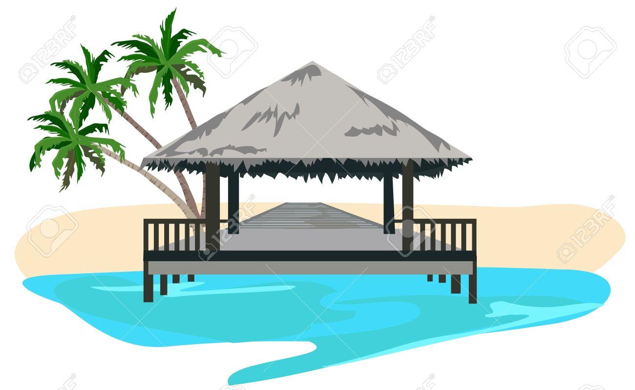 Maldives Island Resort Illustration Isolated On White Background.