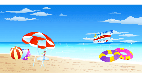 Seaside holiday clipart.