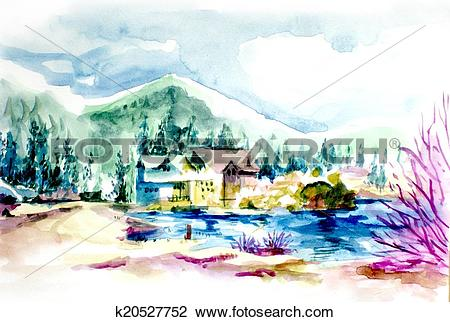Clip Art of House resort by the lake in mountain illustration.