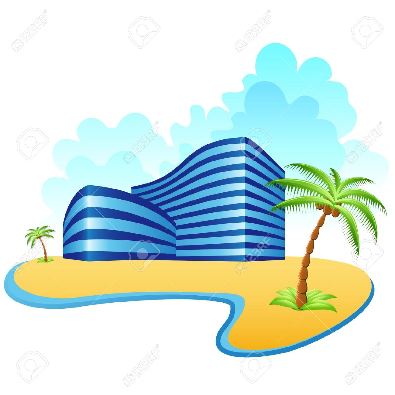 Hotels And The Beach Royalty Free Cliparts, Vectors, And Stock.