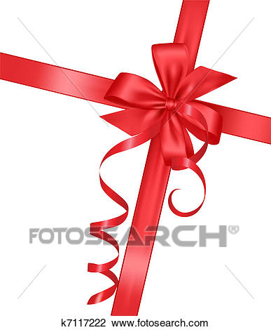Holiday red bow with a ribbon Clipart.