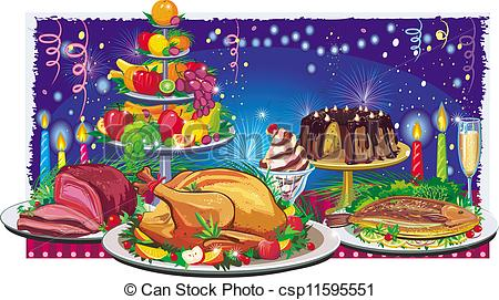 Clipart Vector of Holiday dinner csp11595551.