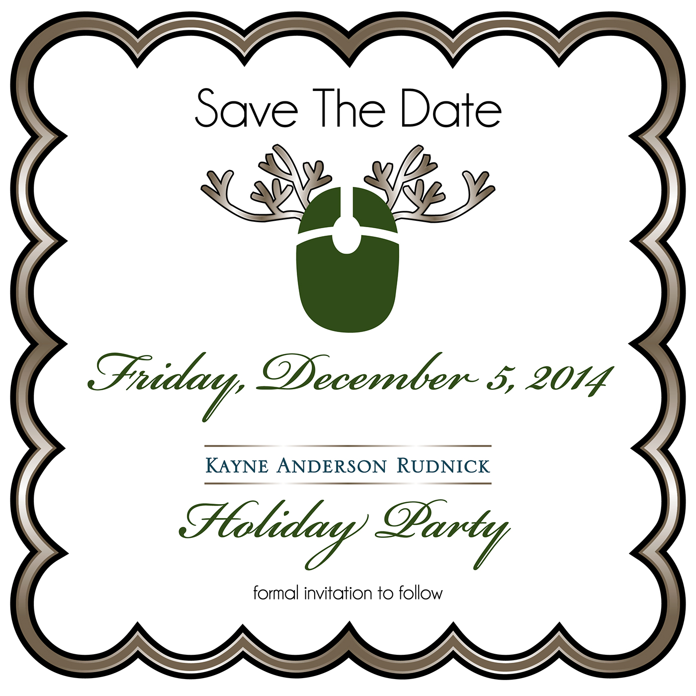 KAR Holiday Party Save the Date 2014 on Behance.