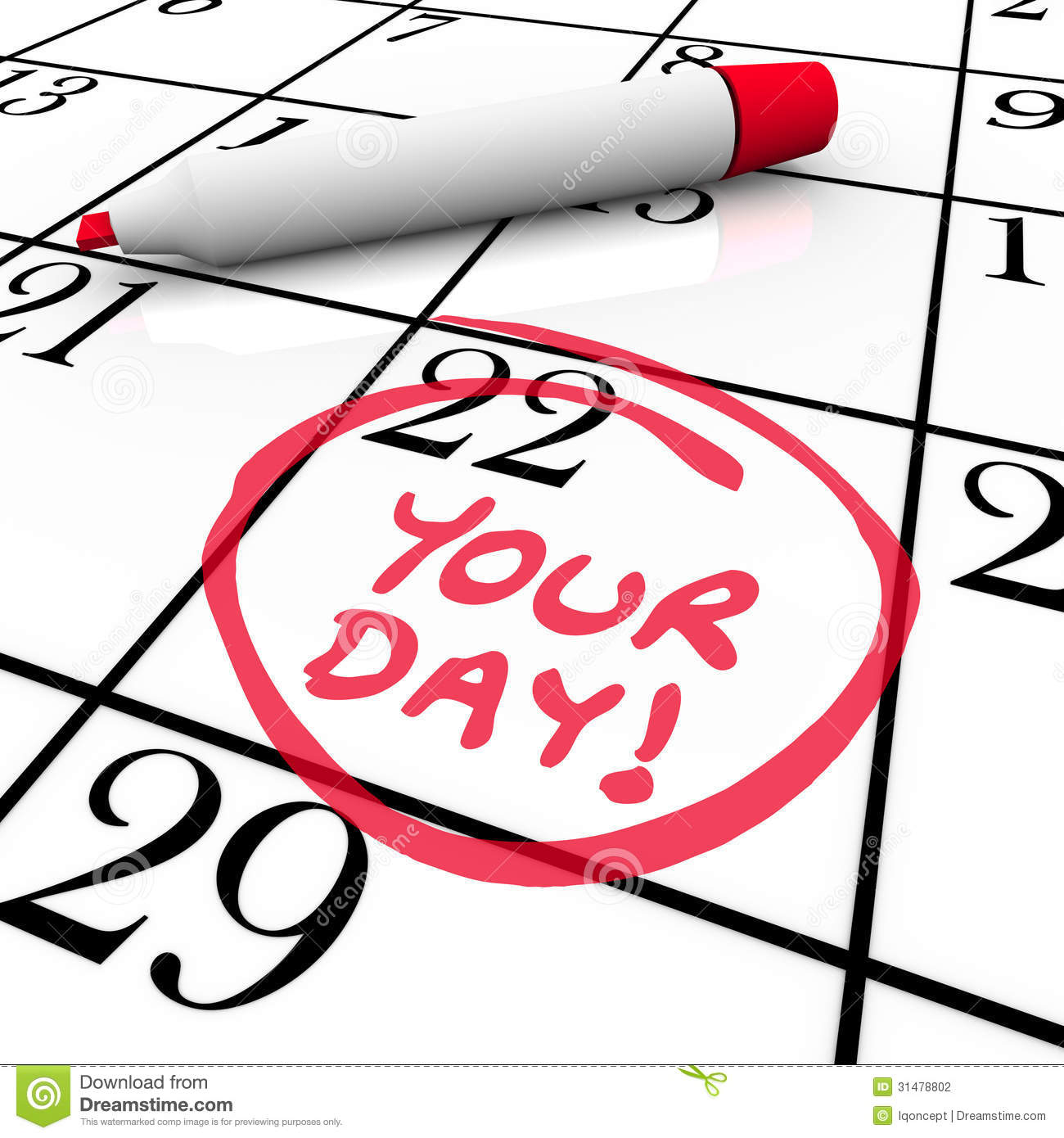 Your Day Words Calendar Special Date Circled Holiday Vacation Stock.