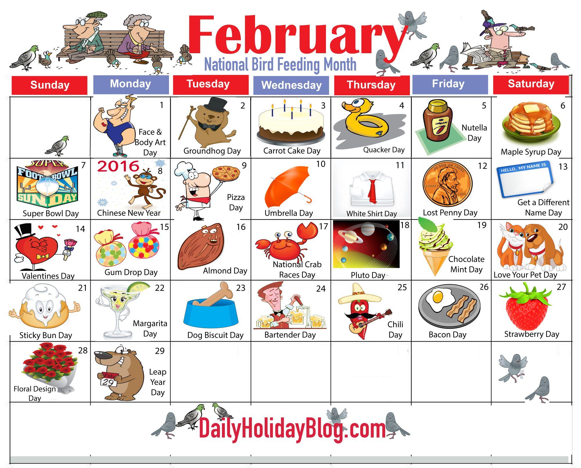february holiday calendar.