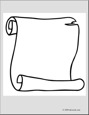Clip Art: Scroll 2 (coloring page) I abcteach.com.