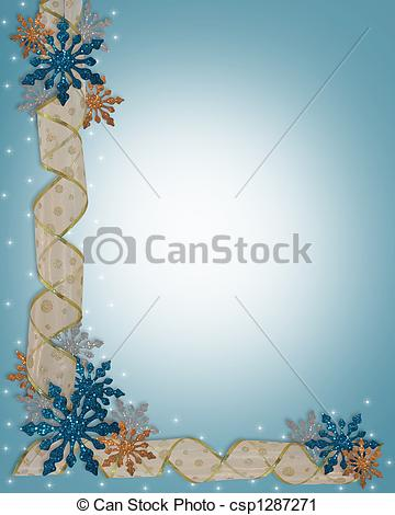 Clipart of Christmas Holiday Border Snowflakes.