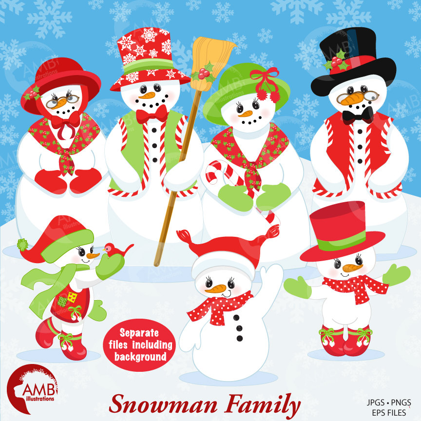Snowman Clipart, Christmas Clipart, Frosty the Snowmen Clipart, AMB.