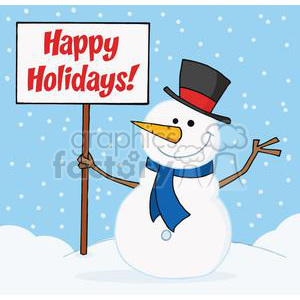 Holiday Greetings With Snowman clipart. Royalty.