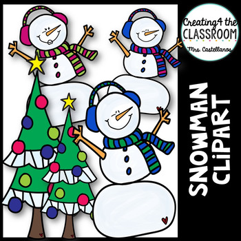 Snowman Clip art {Holiday Clipart}.