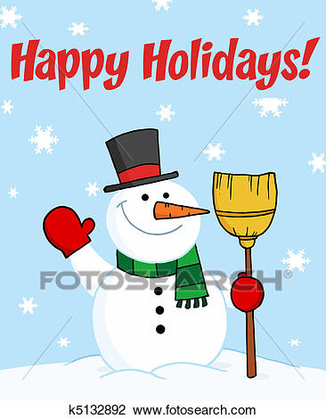 Holiday Greetings With Snowman Clipart.
