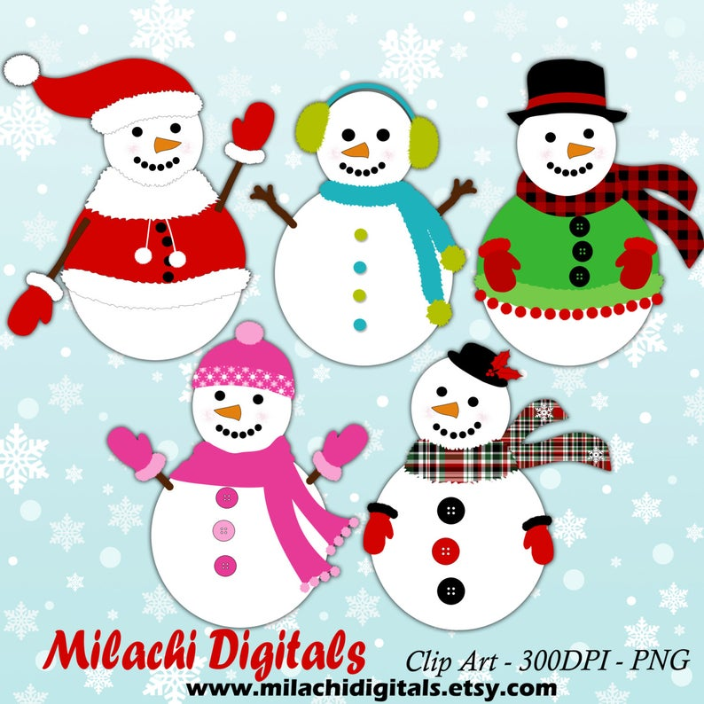 Snowman clipart, holiday clipart, digital clip art, commercial use, instant  download.