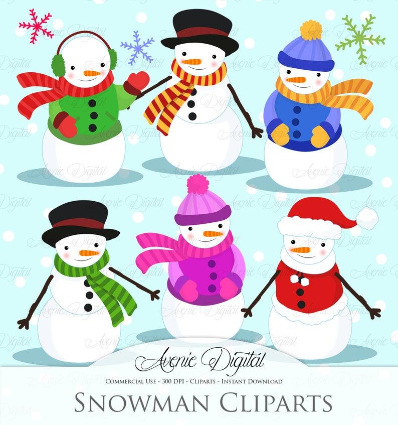 Christmas Snowman Clipart Scrapbook printables, holiday clip art set for  Commercial Use. Snow man Snowmen vectors graphics.