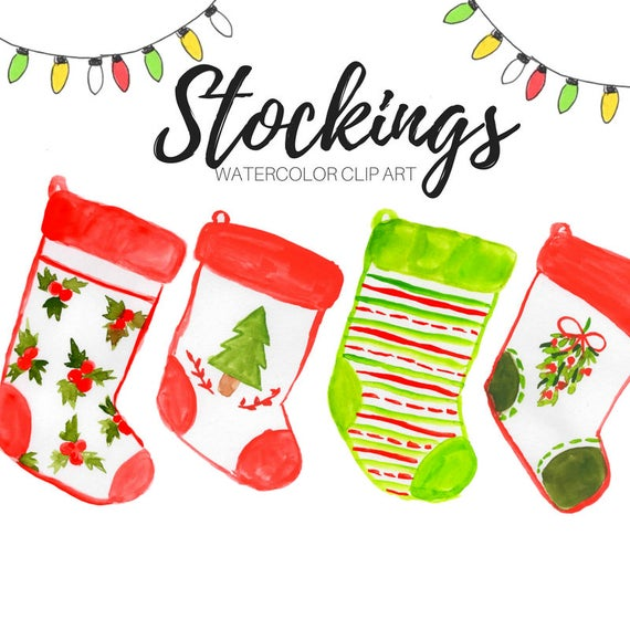 Christmas clipart, stockings, holiday socks, decoration, commercial use.
