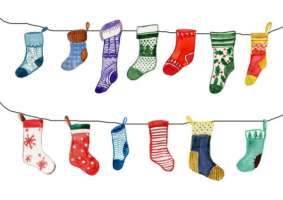 Socks watercolor clipart, christmas sock clipart, winter clipart.