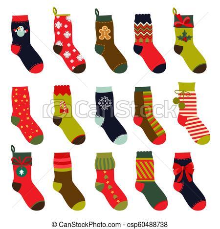 Set of christmas socks. Vector illustrations in flat style.