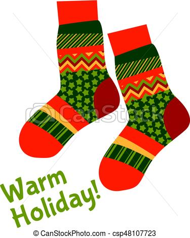 Christmas striped socks in patchwork style. Xmas pattern vector  illustration. Peasant style patch fabric mosaic for warm xmas greetings.