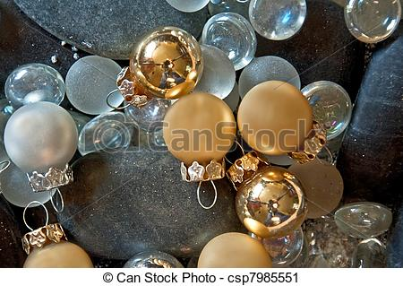 Clipart of Gold and silver Christmas Balls Still Life.
