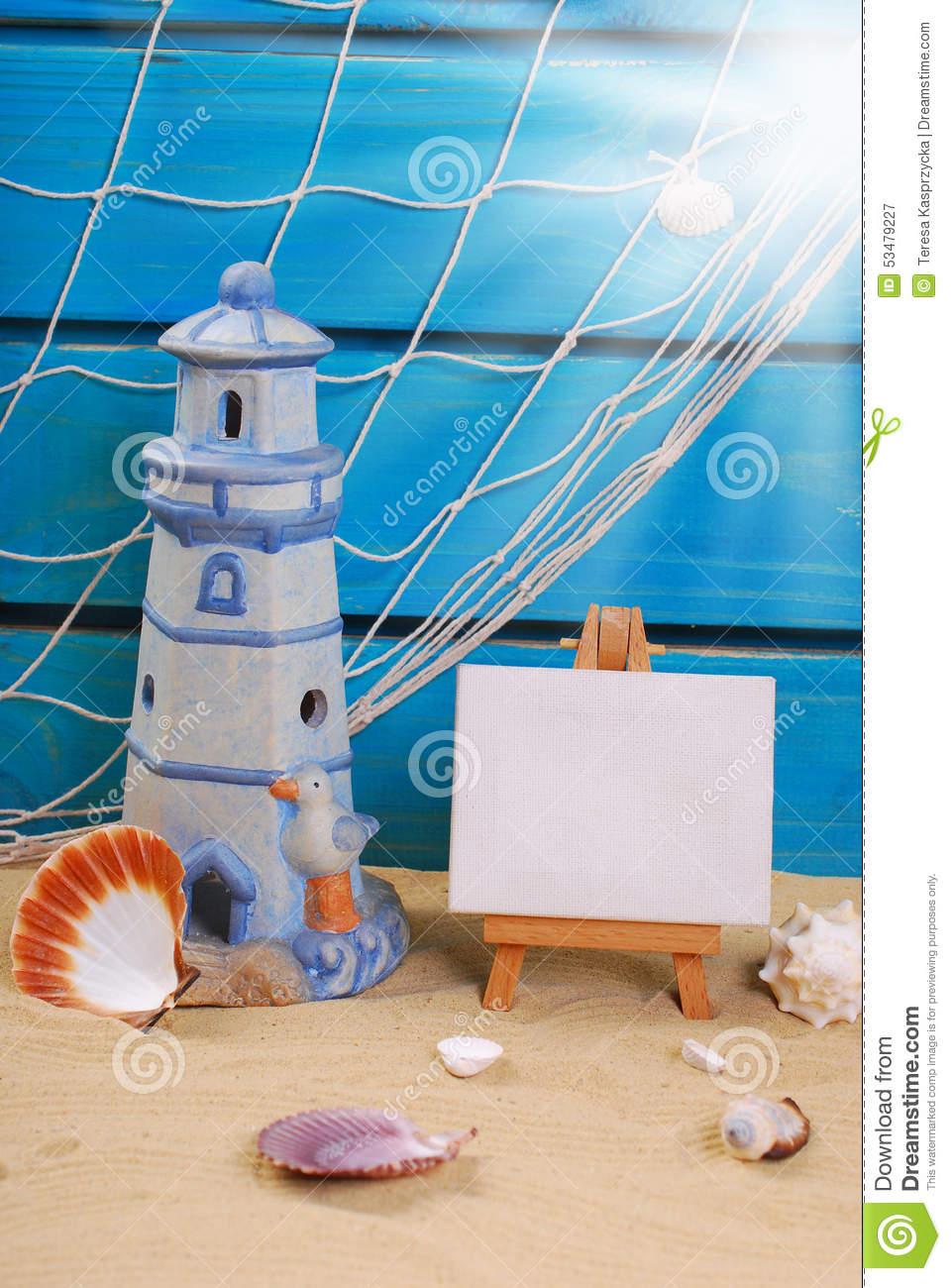 Seaside Summer Holidays Still Life Stock Photo.