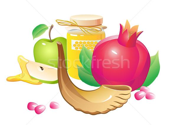 rosh hashana traditional holiday still life, apple, honey and.
