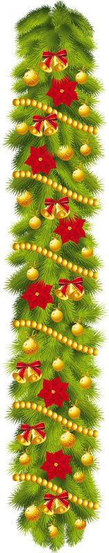 CHRISTMAS VERTICAL SWAG CLIP ART.