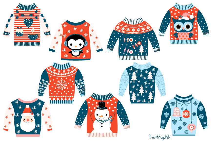 Tacky Christmas sweater clipart, Ugly Christmas sweaters clip art.