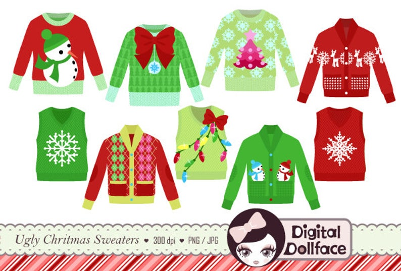Ugly Christmas Sweater Clipart, Tacky Holiday Sweater, Party Invite Clip Art.