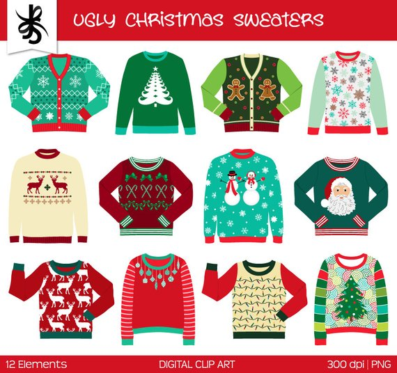 Ugly Christmas Sweater Clipart.