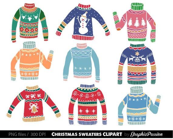 Ugly Christmas Sweater Clipart Christmas Sweater Graphics Christmas Clipart  Digital Clip Art Clothes Holiday Sweaters Clip Art Christmas PNG.