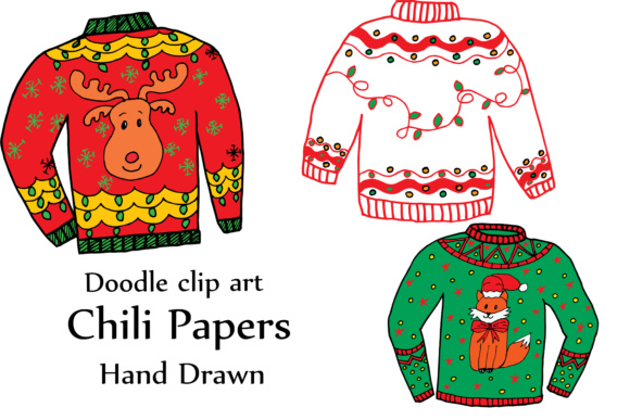 Gly Sweater ClipArt, CHRISTMAS CLIPART, Holiday Clipart Doodle clipart ugly  sweaters.
