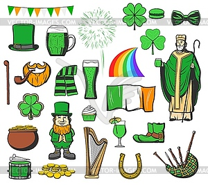 St Patrick day, Ireland holiday symbols.
