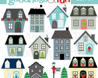 Christmas village clipart free.
