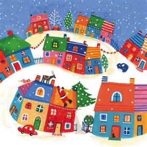 Christmas village scene clipart.