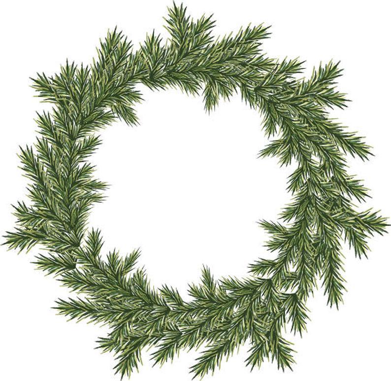 Christmas Wreath Clipart Watercolor Wreath Holiday Wreath Christmas  Greenery Minimalist Wreath.