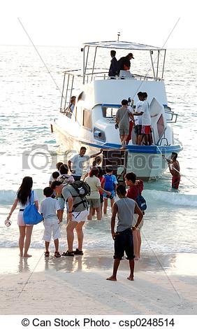 Stock Photo of Holiday Makers Boarding Ship.