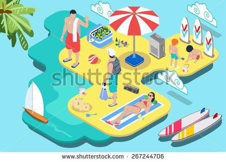 Isometric Flat Beach Life