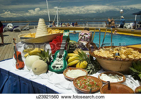 Stock Photography of Mexican buffet on the pool deck aboard a.