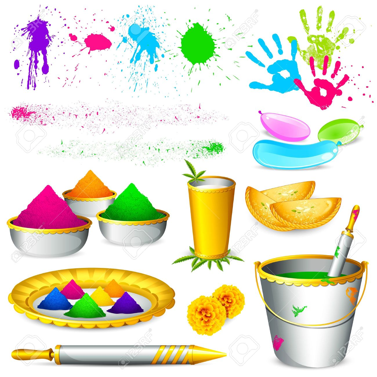 Holi festival pictures clipart.